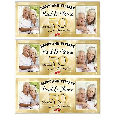 £5.99 • Buy Personalised Golden 50th Wedding Anniversary Photo Poster Banners Decoration N39