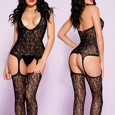 £12.99 • Buy Sexy Outfit Lace Bodystocking Lingerie Dress Fishnet Bodysuit Neck Halter Teddy