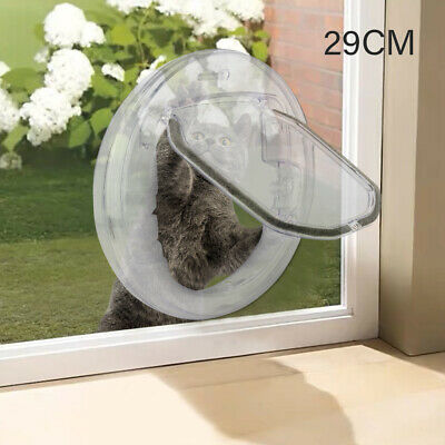 £6.99 • Buy 4 Way Round Clear Locking Flap Pet Door Cat Small Dog For Screen Glass UK
