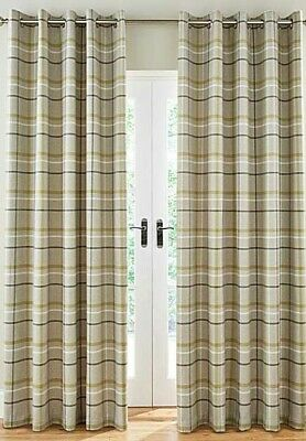 £20 • Buy Hudson Woven Check Green Ring Top Curtains (Pair Of) - NOW £15, £20 & £25