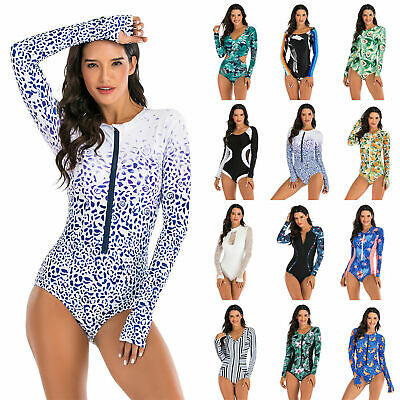 £12.34 • Buy Women's Long Sleeve Rash Guard Swimsuit Sun Protection One Piece Surfing Wetsuit