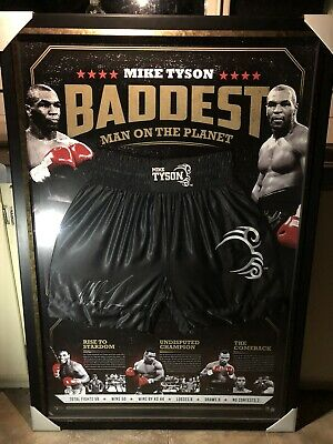 AU1000 • Buy Mike Tyson Signed & Framed Baddest Man On The Planet Ltd Edition Boxing Trunks