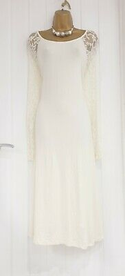 AU1.77 • Buy ASOS CURVE Size 28 Cream Lace Sleeved Stretch Long Dress Viscose Summer NEW BNWT