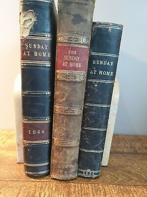 Joblot 3 The Sunday At Home 1856 1864 1867 Leather Antique Books Colour Plates • 18£
