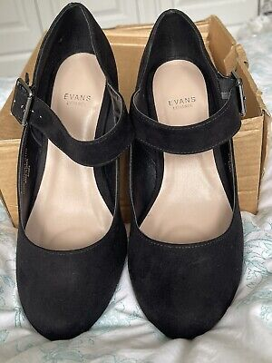 Bnib Beautiful Evans Extra Wide Fit Black Suedette Mary Jane Court Shoes, 6eee • 15£
