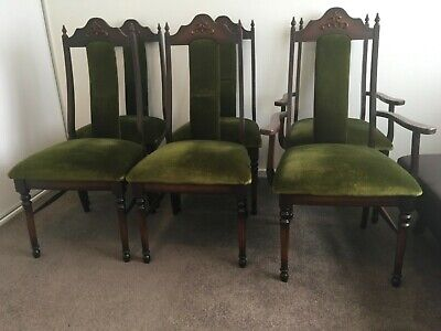 AU37 • Buy Six Second Hand Wooden Dining Chairs With Green Velvet Cushion