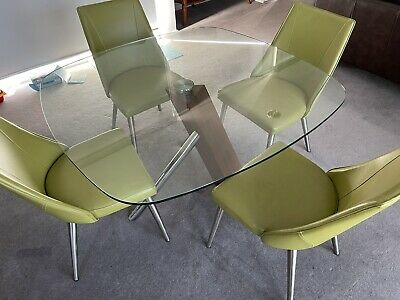 AU400 • Buy Glass Dining Table And Leather Chairs