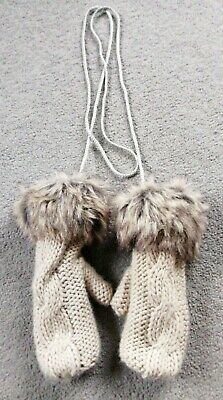 £3 • Buy Beige Faux Fur Cuff Cable Knit Fleece Lined Corded Mittens