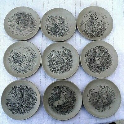 £44.99 • Buy SET OF 9 VINTAGE POOLE POTERY 5  EARTHENWARE ANIMAL DISHES Inc 4 CATS FOX Ect Ec