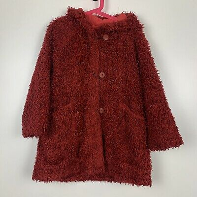 £14.99 • Buy Marese Girls Red Hooded Long Sleeve Full Zip Button Up Teddy Bear Coat Age 6yrs