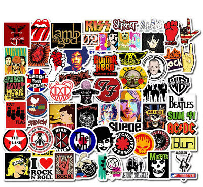 £3.99 • Buy Music Stickers 52 Bands Rock Nirvana Beatles Hendrix Who For Guitar / Drum Case