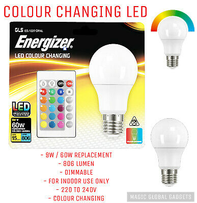 £8.95 • Buy 1 X Energizer Colour Changing Light Bulb E27 GLS LED RGB+W With Remote Control