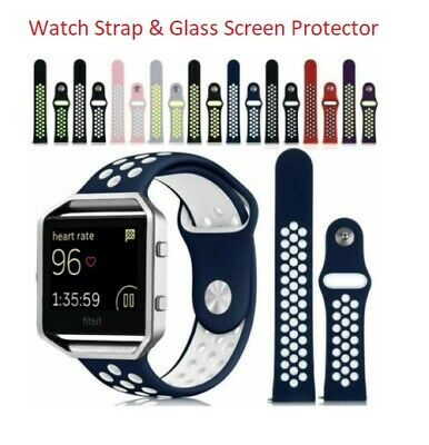 AU8.82 • Buy For Fitbit Blaze Replacement Silicone Sports Band Strap & Glass Screen Protector