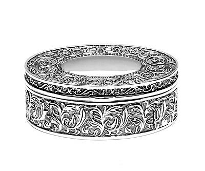 £29.36 • Buy Jewellery Box Oval Jewellery Box Silver Plated Jewellery Case +Engraving