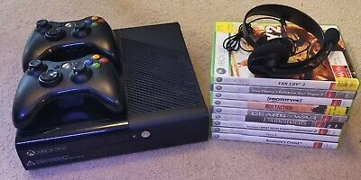 AU195 • Buy MICROSOFT XBOX 360 E .BLACK CONSOLE, 320GB. + Controllers + Games + Headset