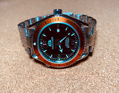 $ CDN85.49 • Buy Automatic Auto Movement Planet Homage Steel Ocean Watch Sea Master Orange