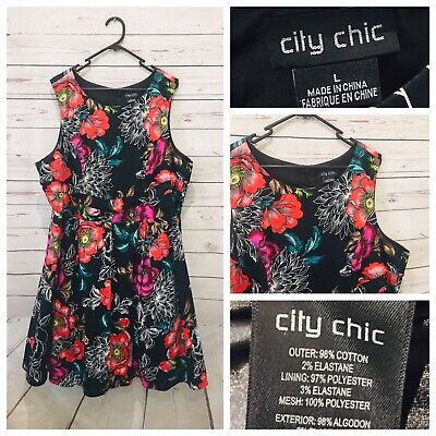 AU45 • Buy CITY CHIC Sz L (AU 20) Floral Sleeveless Fit & Flare Tulle Dress Cocktail Party