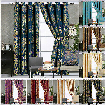 £37.04 • Buy Pair Of Jacquard Ring Top Eyelet Curtain Ready Made Living Room Bedroom Curtains