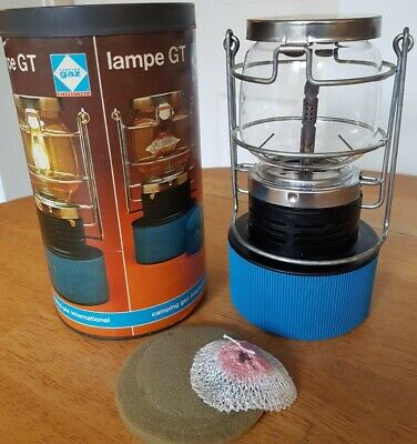 Vintage Camping Gaz Lampe GT Gas Lantern Fully Working+ Storage Tin & Mantle. • 16.95£