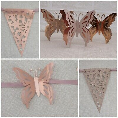 £5.50 • Buy Handmade Rose Gold Bunting Butterfly Or Lace Design Birthday/Wedding/Party