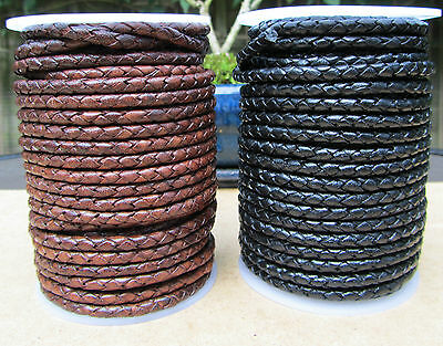 £3.80 • Buy Quality Braided Leather Cord 4mm  Genuine Real Leather Black Or Antique Brown