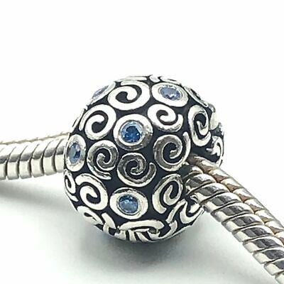 PANDORA Abstract SWIRLS Blue Cubic Zirconia Sterling Silver Clip Charm • 63.84£