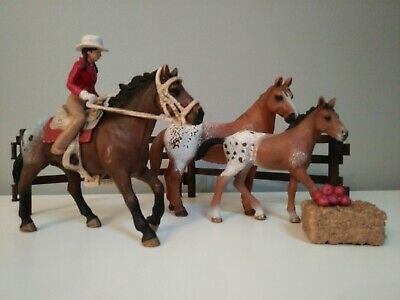 Schleich Appaloosa Horses With Western Rider & Accessories Bundle For Stables  • 24£