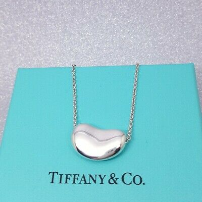 £249 • Buy Tiffany & Co - Solid Sterling Silver Elsa Peretti Bean Necklace - Mint & Genuine
