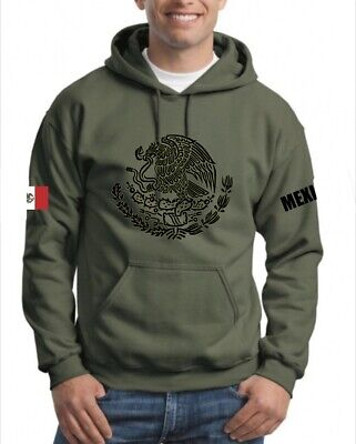 $30 • Buy Mexico Sweater Hoodie, Military Green, Size S Up To 3xl, Choose Your Size Below,