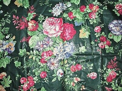 Vtg 26x26 Beacon Hill Green W Pink Cabbage Roses Cotton Fabric Sample W Tag Sew • 5.72£