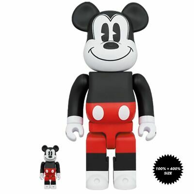 $168.99 • Buy Mickey Mouse Red And White 100% + 400% Bearbrick Set By Medicom Toy