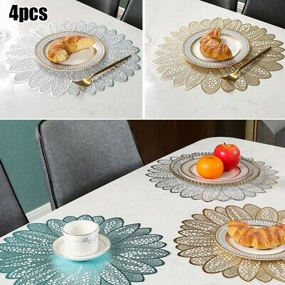 AU27.31 • Buy Set Of 4 PVC Placemats Washable Heat Insulation Dining Table Place Mats Decor