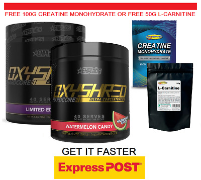 AU120 • Buy EHP Labs Oxyshred Hardcore Fat Burner 40 Serve Stronger Edition Twin Pack Gifts