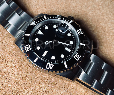 £65 • Buy Automatic 40mm Black Submariner Sub Homage Watch With Ceramic Bezel Glide Lock