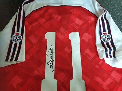 £105 • Buy Anders Limpar Signed Arsenal Title 1991 Home Retro Shirt