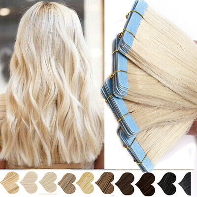 THICK Russian Tape In Real Remy Human Hair Extensions 50G/20pcs Blonde Skin Weft • 13.09£