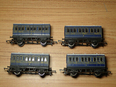 Rake Of 4 Hornby 00 Gauge 4 Wheel Caledonian Blue Coaches  Lot G46 • 30£