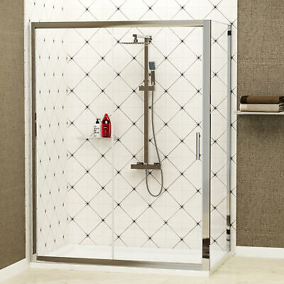 Sliding Door Shower Enclosure And Side Panel 6mm Cubicle Glass+ Shower Tray • 198.99£