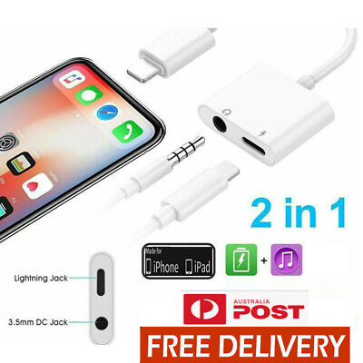 AU7.80 • Buy 2in1 8 Pin Apple/ 3.5mm Aux Headphone Jack Charger Adapter IPhone X XR XS Max 8