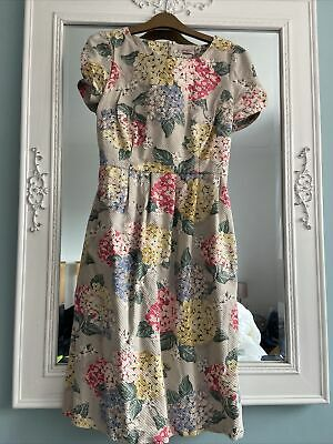 Cath Kidston Floral Textured Long Midi Dress Size 10 Summer Work Smart Retro • 45£