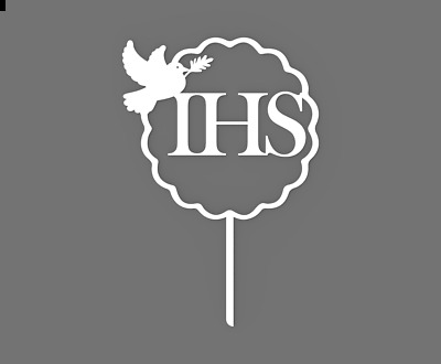First Holy Communion IHS Cake Topper 60738 Plastic Party Decor ( Dove ) • 5.49£