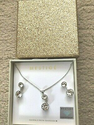 AU27.59 • Buy Bnib Unwanted Gift Diamante Earrings Pierced And Necklace In Silver Xmas Gift