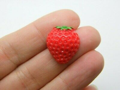 £1.95 • Buy 8 Strawberry Embellishment Cabochon Red Green Resin FD361
