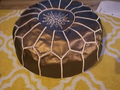 MOROCCAN Bronze FAUX LEATHER HAND STITCHED POUFFE • 39.95£