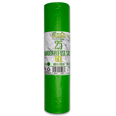 AU12.56 • Buy 25 Green Strong 60L Heavy Duty Kingfisher Garden Rubbish Refuse Sacks