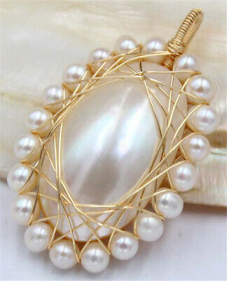$18.99 • Buy Huge 40mm Natural White Oval Mabe Pearl Pendant