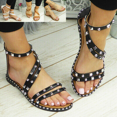£12.95 • Buy Ladies Flats Zip Strappy Sandals Womens Summer Comfy Casual Gladiator Shoes Size