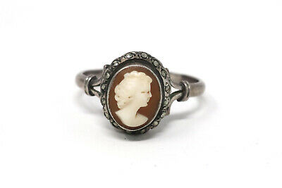 £16 • Buy A Pretty Vintage Art Deco Style Sterling Silver 925 Marcasite & Cameo Ring 33946