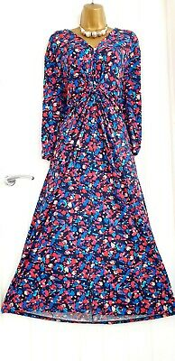 AU1.77 • Buy MONSOON Size 18 Pretty Ditsy Bright Floral Stretch Gathered Maxi Dress Sleeved