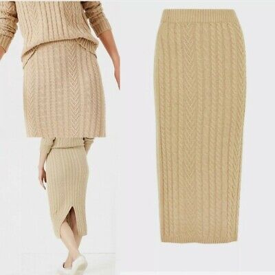 £16 • Buy M & S Camel  Soft Knit Cable Midi Straight Stretchy Skirt BNWT £35.00 Size S